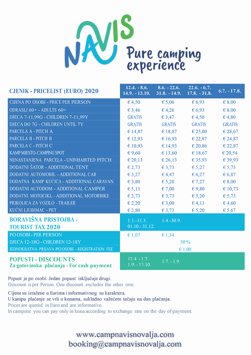 Pricelist of the Camp Navis.